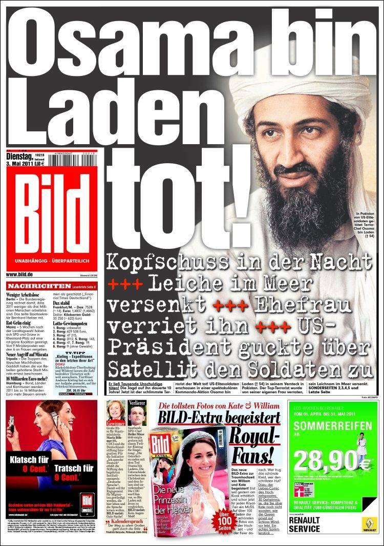 Newspaper Bild (Germany). Newspapers in Germany. Tuesday's ...  Newspaper Bild ...