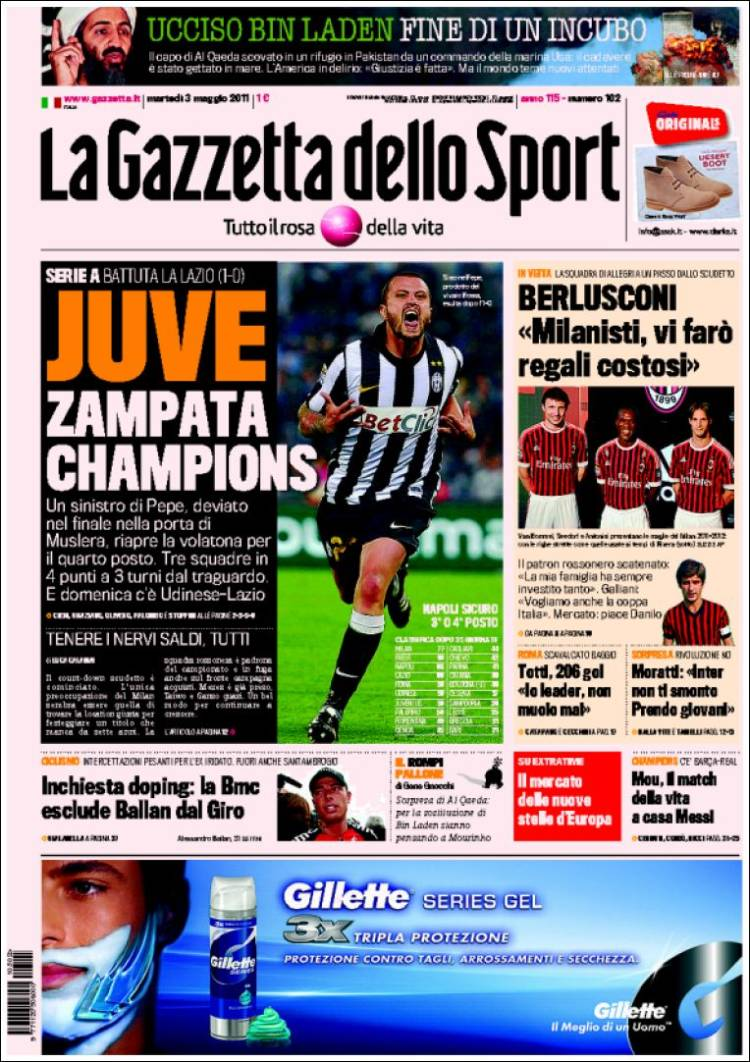 newspaper la gazzetta dello sport italy newspapers in italy tuesday 39 s edition may 3 of 2011. Black Bedroom Furniture Sets. Home Design Ideas