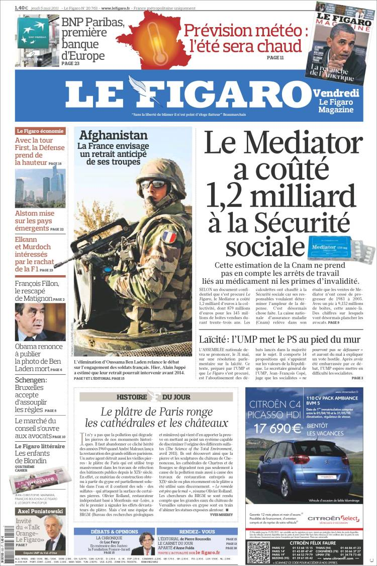 Newspaper LE FIGARO (France). Newspapers in France. Thursdays.