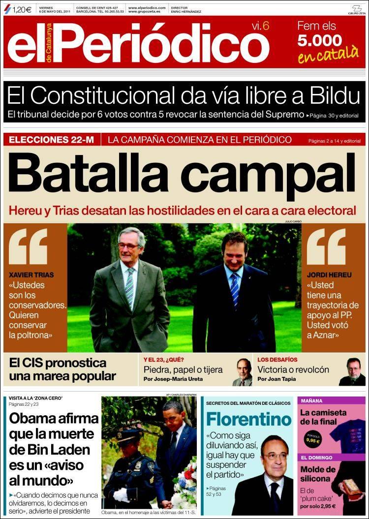 Peri dico el peri dico espa a peri dicos de espa a edici n de viernes 6 de mayo de 2011 - Puerta de madrid periodico ...
