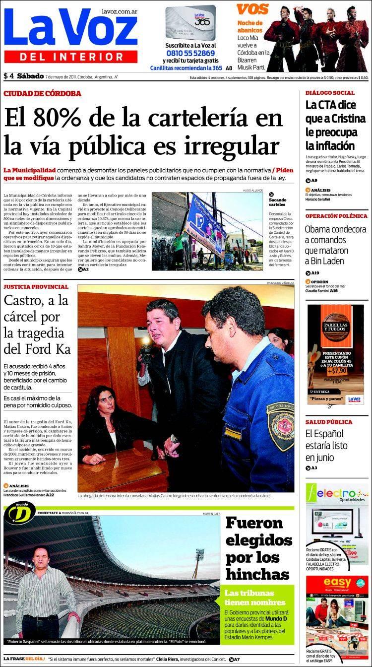 Peri dico la voz del interior argentina peri dicos de argentina edici n de s bado 7 de mayo - La voz del interior ...