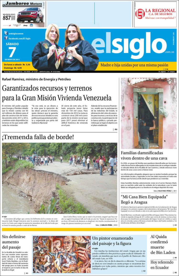 Portada de El Siglo (Venezuela)
