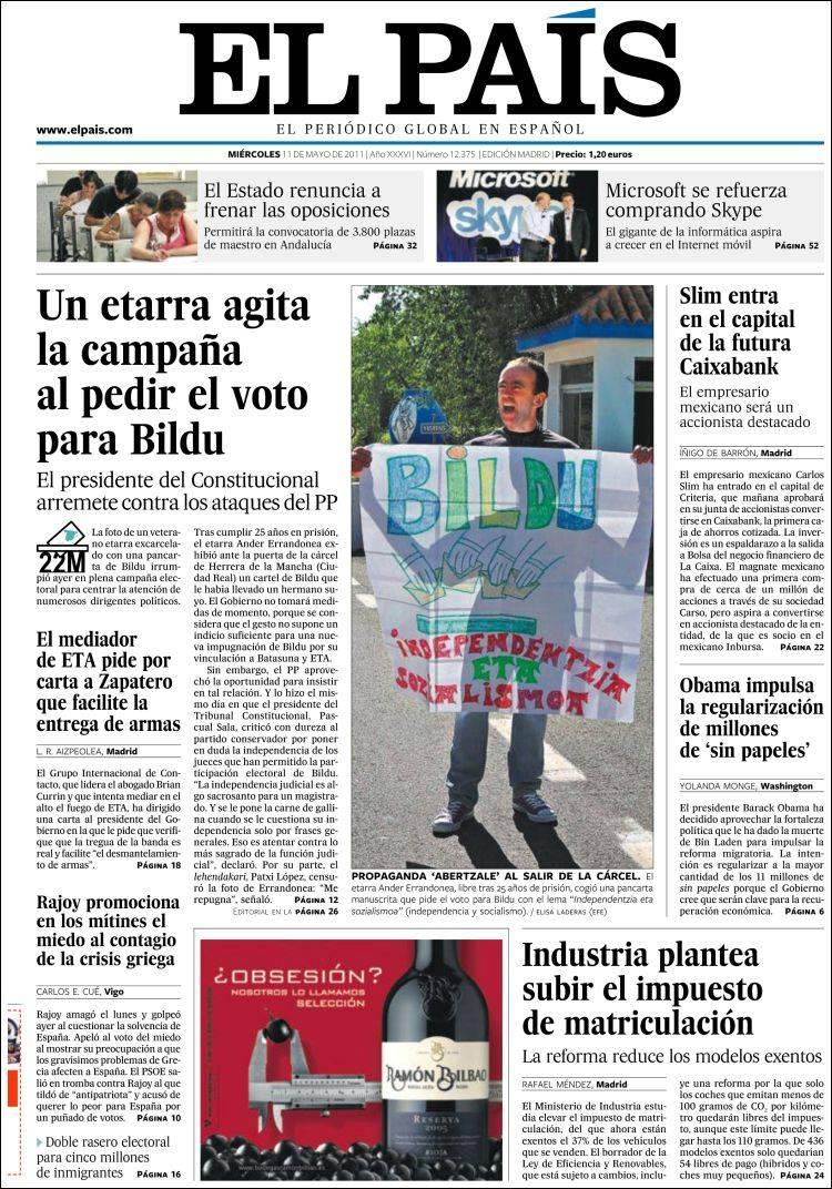 Peri dico el pa s espa a peri dicos de espa a edici n de mi rcoles 11 de mayo de 2011 - Puerta de madrid periodico ...