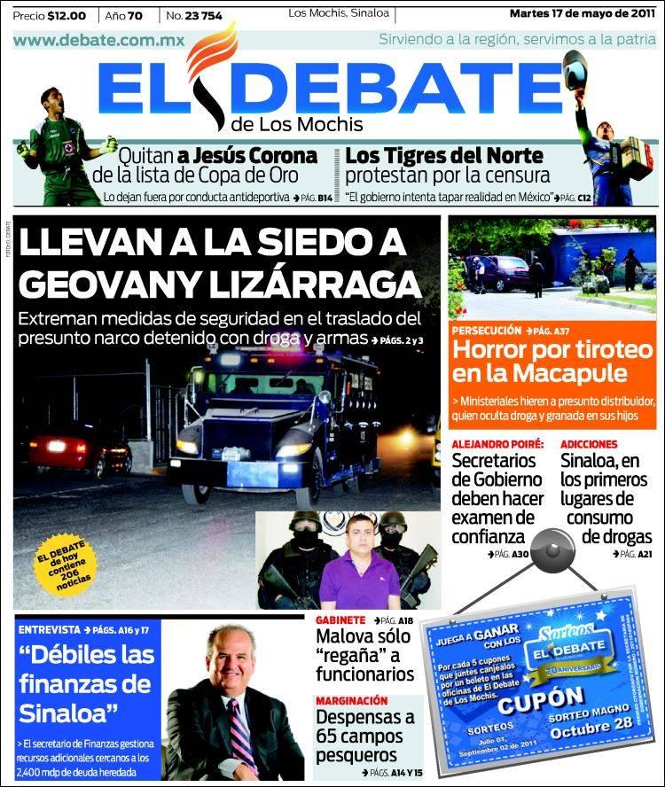 Portada de El Debate de Los Mochis (México)