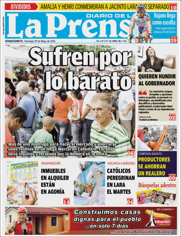 Portada de La Prensa de Lara (Venezuela)