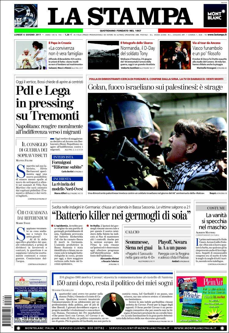 Newspaper La Stampa (Italy). Newspapers in Italy. Monday's ...
