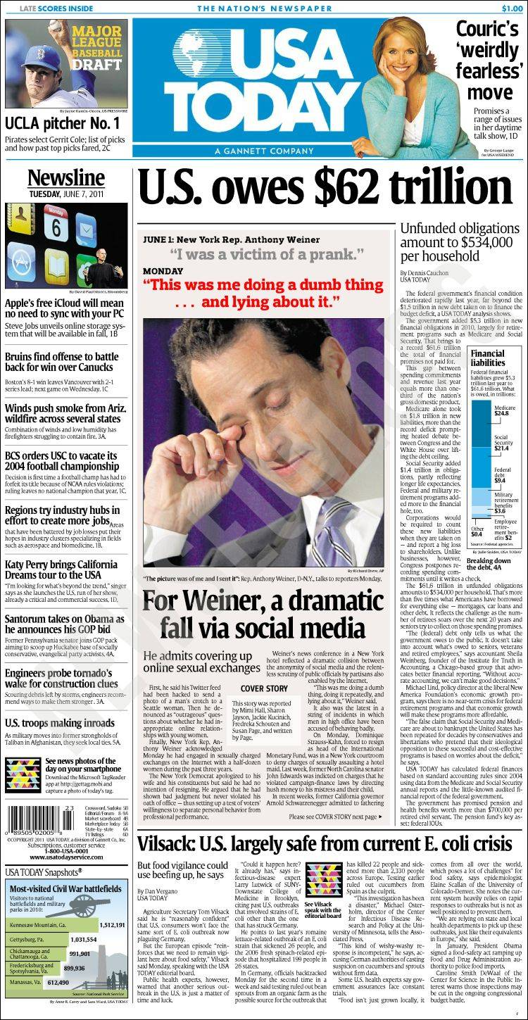 Newspaper USA Today (USA). Newspapers in USA. Tuesday's ...