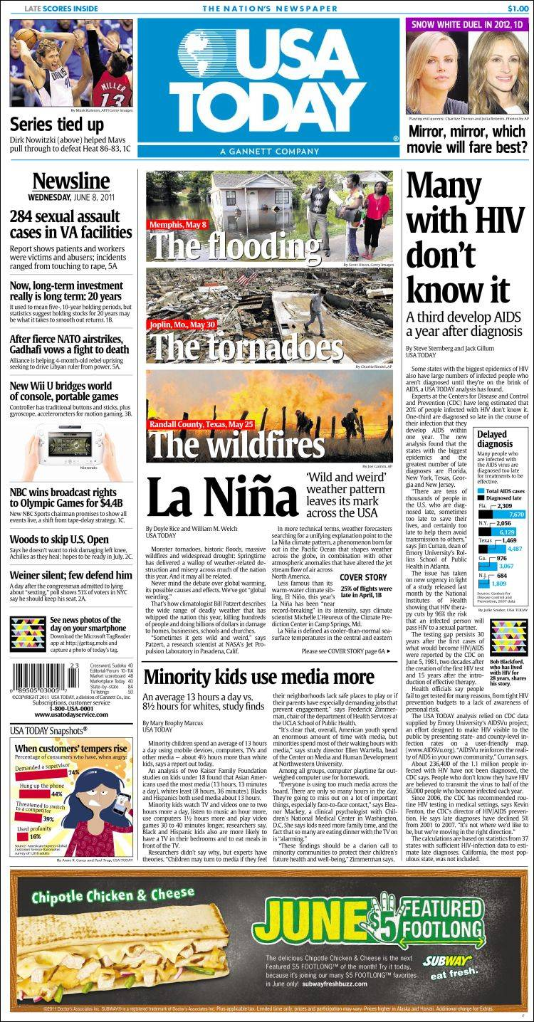 Newspaper USA Today (USA). Newspapers in USA. Wednesday's ...