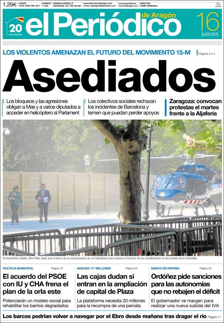 Portada de El Periódico de Aragón (España)