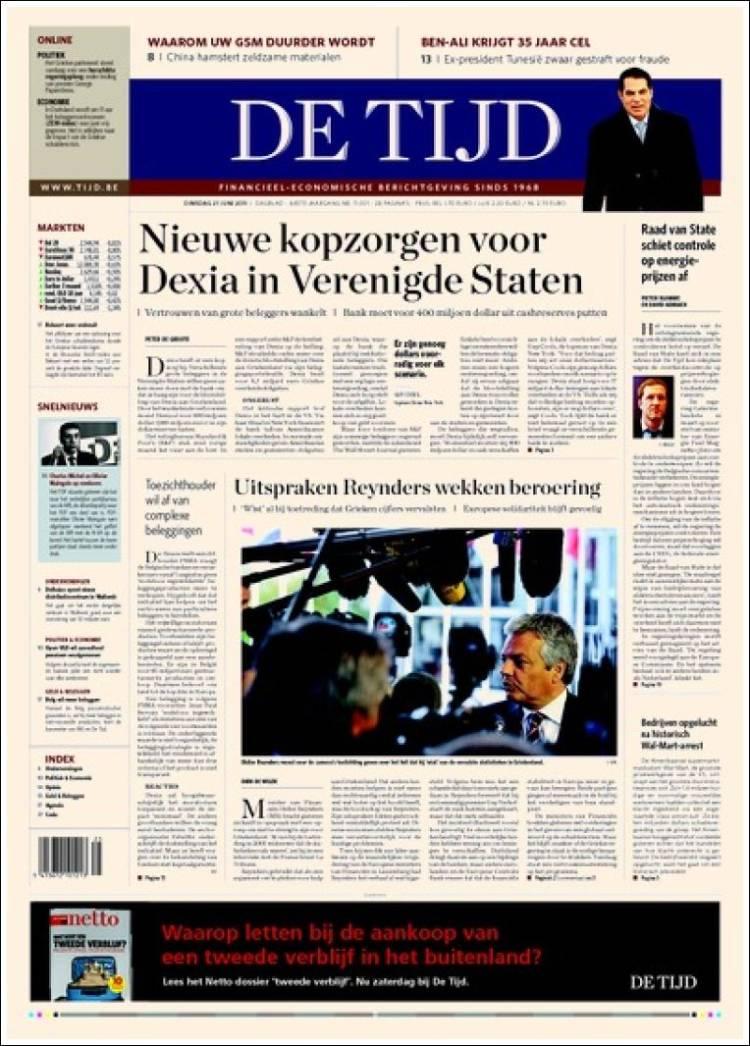 Journal De Tijd (Belgique). Les Unes des journaux de ...