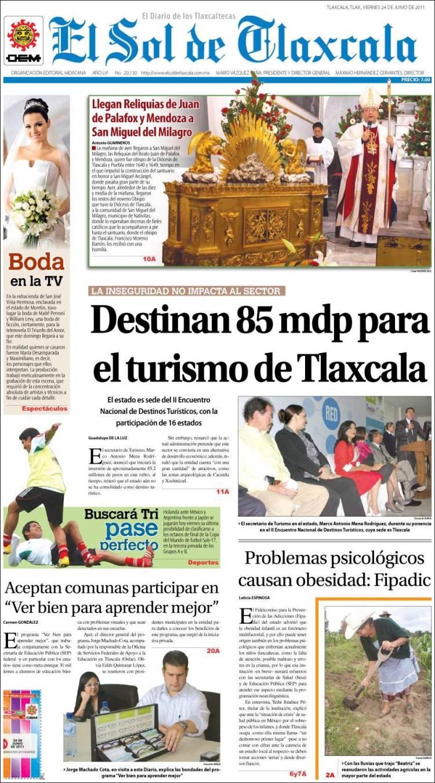 Portada de El Sol de Tlaxcala (México)
