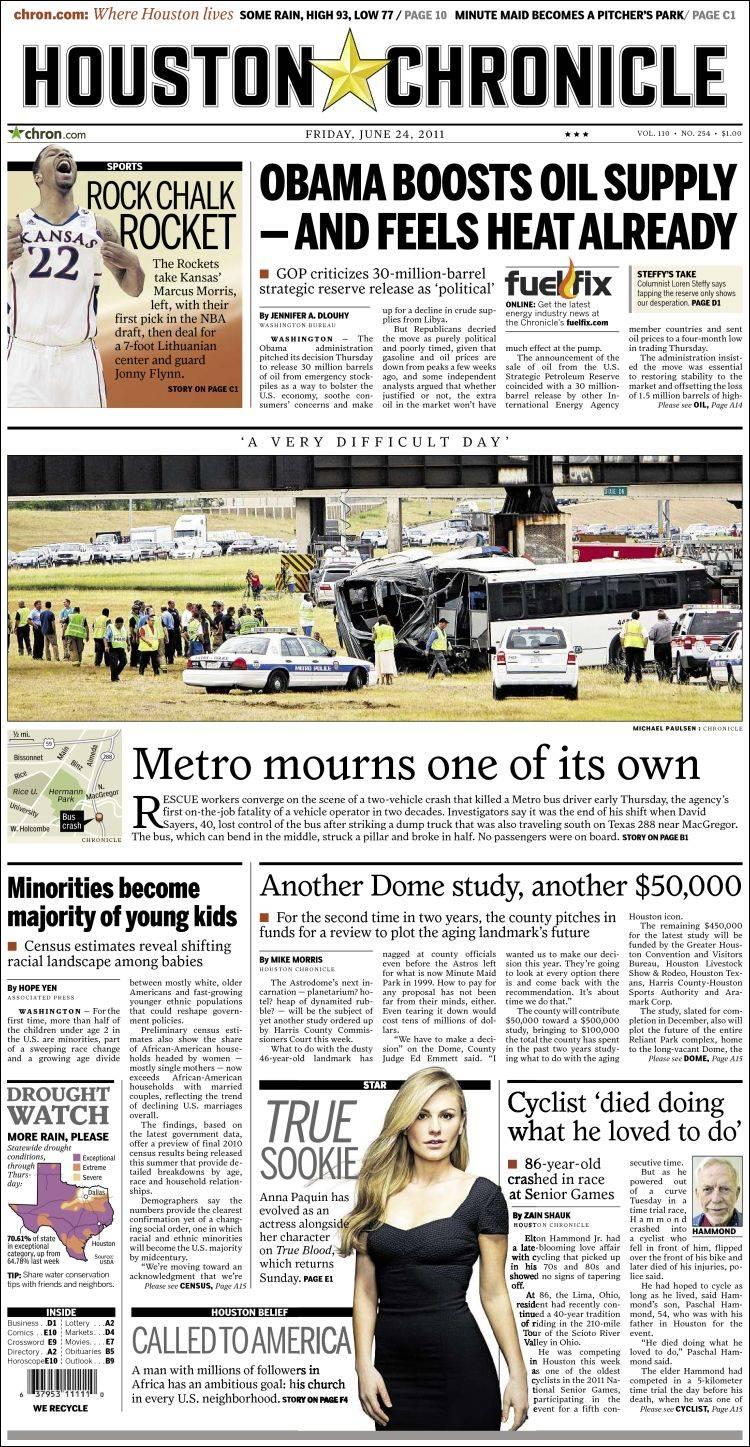 Newspaper Houston Chronicle (USA). Newspapers in USA ...