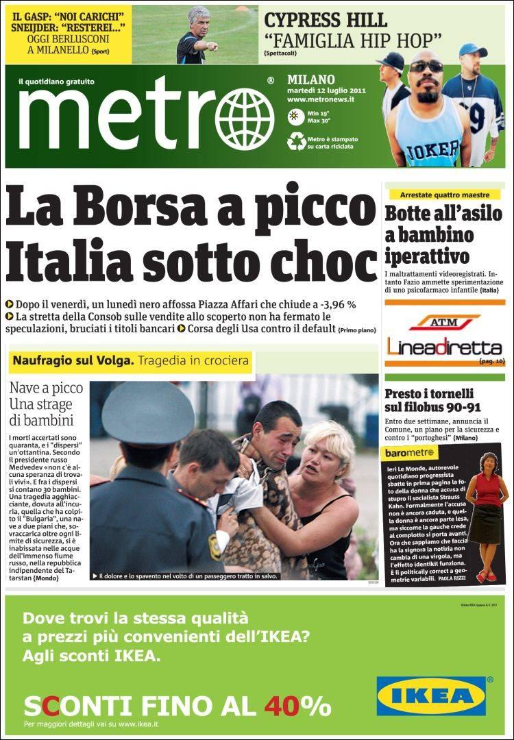 journal metro milano italie les unes des journaux de italie dition du mardi 12 de. Black Bedroom Furniture Sets. Home Design Ideas