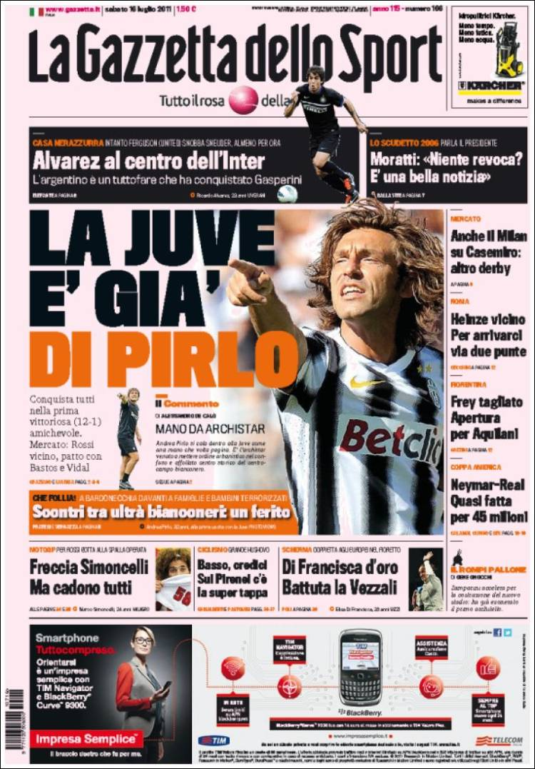 newspaper la gazzetta dello sport italy newspapers in italy saturday 39 s edition july 16 of. Black Bedroom Furniture Sets. Home Design Ideas