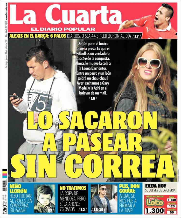 Newspaper La Cuarta (Chile). Newspapers in Chile. Friday\'s edition ...