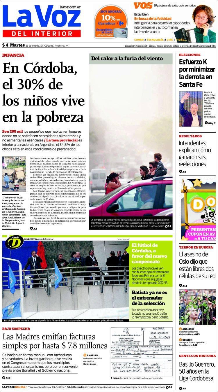 Peri dico la voz del interior argentina peri dicos de argentina edici n de martes 26 de - La voz del interior ...