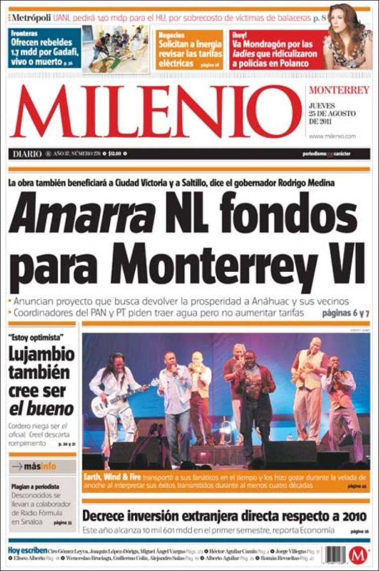 4 portadas de diarios impresos en nuevo le n m x for Entradas 4 milenio