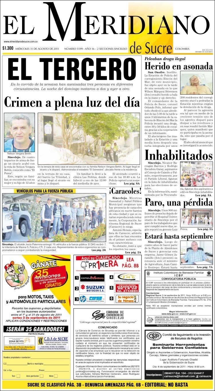 Portada de El Meridiano de Sucre (Colombia)