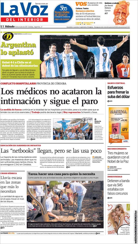 Peri dico la voz del interior argentina peri dicos de argentina edici n de s bado 8 de - La voz del interior ...
