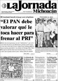 Portada de La Jornada de Michoacán (Mexico)