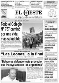 Portada de Diario El Oeste (Argentina)