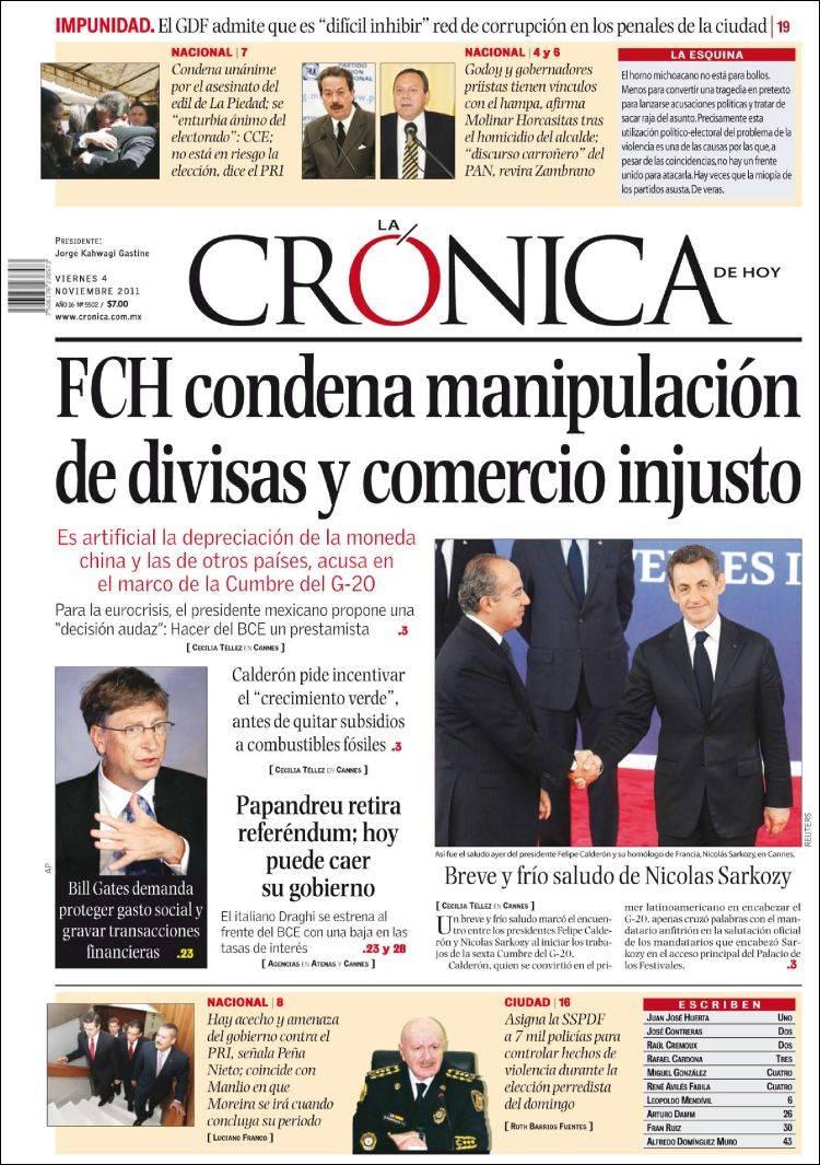 Periódico La Crónica de Hoy (México). Periódicos de México. Edición ...