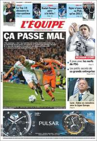 Newspaper LEquipe (France). Newspapers in France. Thursdays edition ...