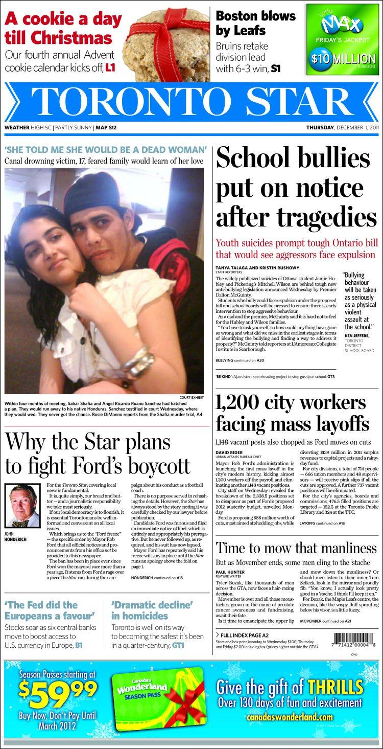 Newspaper The Toronto Star (Canada). Newspapers in Canada ...
