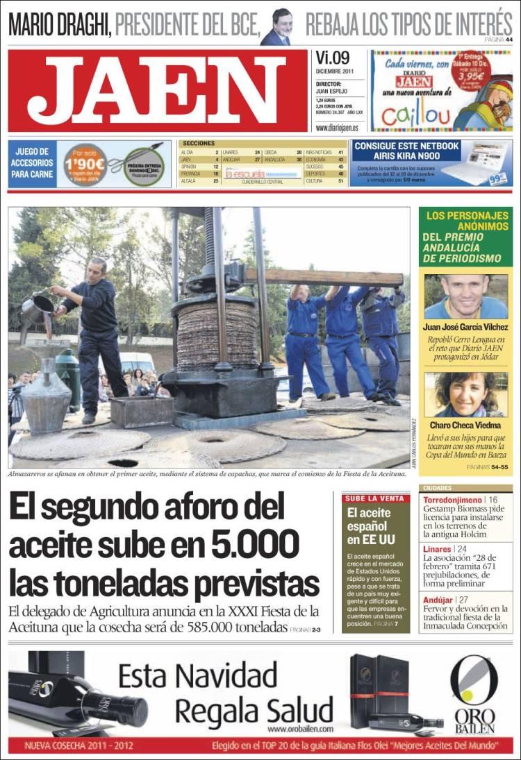 Peri dico diario ja n espa a peri dicos de espa a edici n de viernes 9 de diciembre de 2011 - Puerta de madrid periodico ...