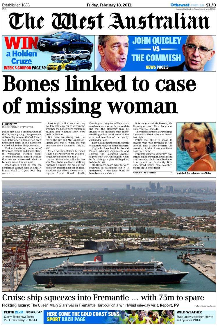 Newspaper The West Australian (Australia). Newspapers in