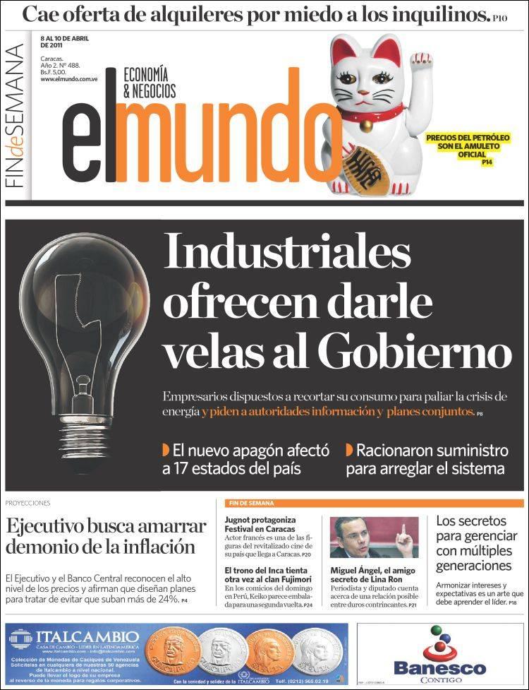 Newspaper El Mundo Economía Negocios Venezuela Newspapers In Venezuela Friday S Edition April 8 Of 2011 Kiosko Net