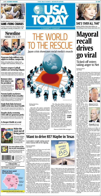 Newspaper USA Today (USA). Newspapers in USA. Tuesdays edition, March 16 of 2010. Kiosko.net