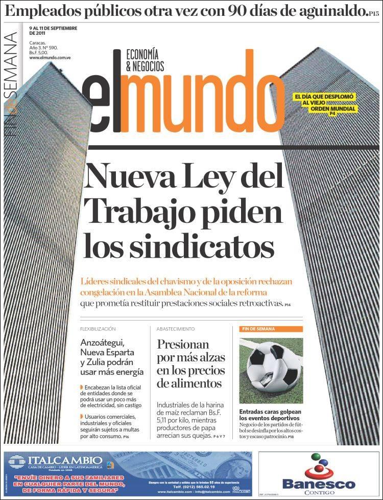 Newspaper El Mundo Economía Negocios Venezuela Newspapers In Venezuela Friday S Edition September 9 Of 2011 Kiosko Net
