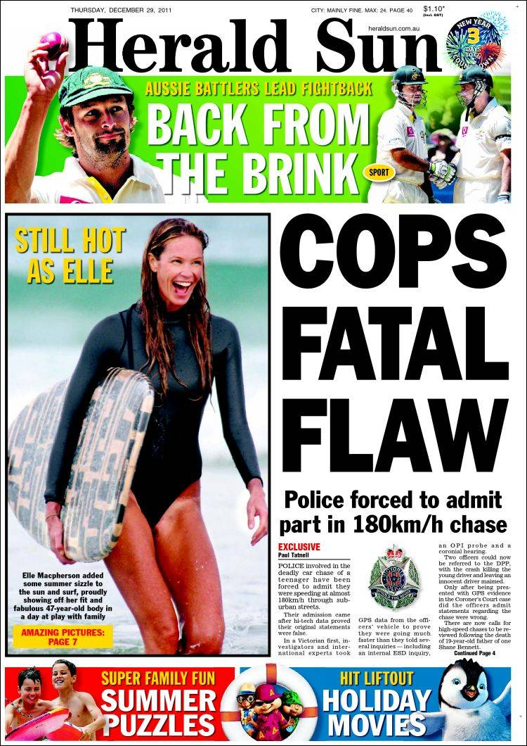 Front page of Melbournes Herald Sun with heartening news